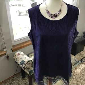 NWOT Coldwater Creek Sleeveless Lined Lace Top.